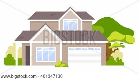 Suburban House Cartoon Vector Illustration. Summer Cottage, Country House Flat Color Object. Real Es
