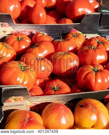 Assortment Of French Salad Tomatoes, New Harvest Of Big Heirloom Tomatoes  On Market In Provence, Fr