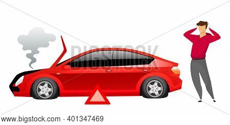Guy Standing By Broken Car Flat Color Vector Faceless Character. Automobile Breakdown Isolated Carto