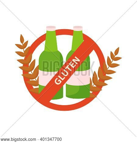Gluten Intolerance Concept With Prohibited Beer Flat Vector Illustration