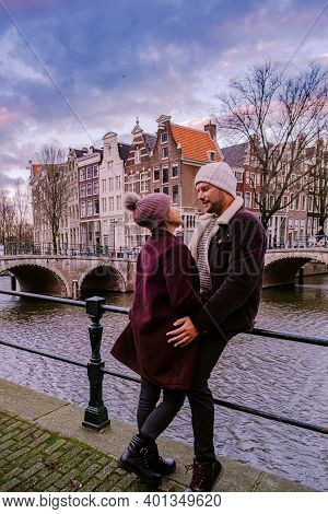 Amsterdam Netherlands During Sunset, Historical Canals During Sunset Hours. Dutch Historical Canals