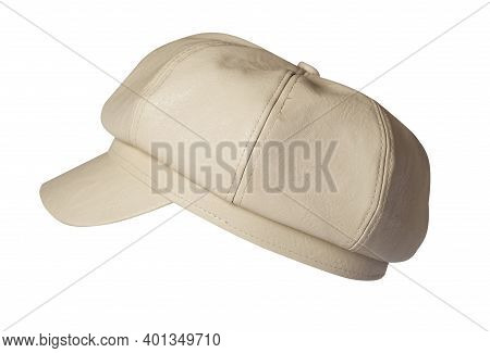 Fashion Biege Hat With Visor Isolated On White Background.cap Female. Colored Hat .