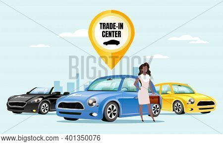 Trade In Center Flat Color Vector Illustration. Female Customer, Salesperson 2d Cartoon Character Wi