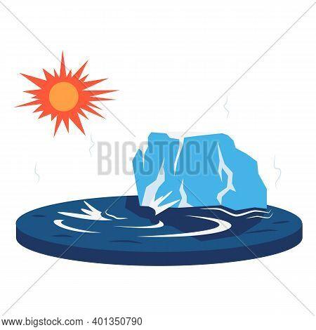 Melting Glacier Cartoon Vector Illustration. Global Warming Impact. Glacial Destruction. Warm Temper