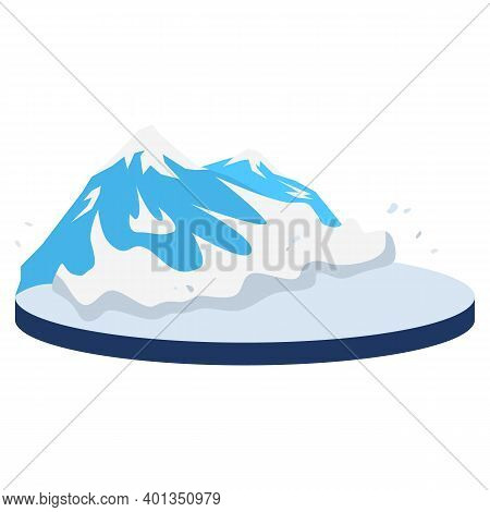 Avalanche In Rural Area Cartoon Vector Illustration. Snow Falling On Mountainside. Snowslide, Snow S