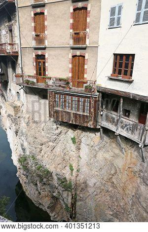 Pont-en-royons Village On The River Bourne In France