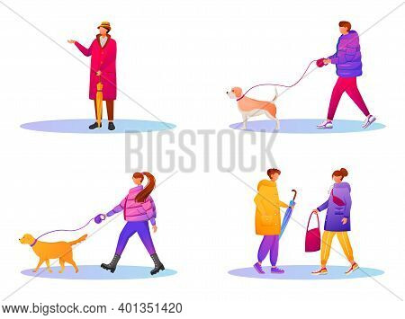 Walking People In Gradient Coats Flat Color Vector Faceless Characters Set. Rainy Day. Wet Weather.
