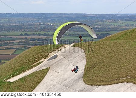 Paragliding At Westbury White Horse In Wiltshire