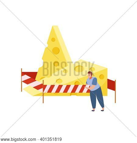Lactose Intolerant Man And Two Pieces Of Cheese Flat Vector Illustration