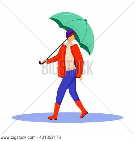 Woman In Pullover And Red Jacket Flat Color Vector Faceless Character. Walking Caucasian Lady In Gum