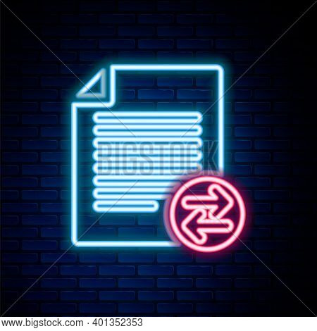 Glowing Neon Line Transfer Files Icon Isolated On Brick Wall Background. Copy Files, Data Exchange,
