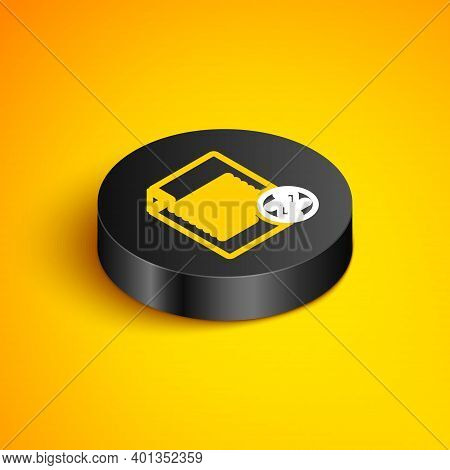 Isometric Line Transfer Files Icon Isolated On Yellow Background. Copy Files, Data Exchange, Backup,