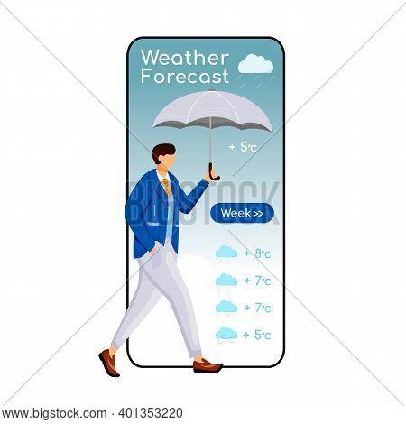 Weather Forecast Cartoon Smartphone Vector App Screen. Mobile Phone Display, Flat Character Design M