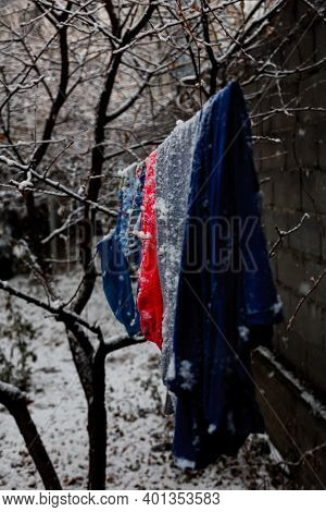 Underwear Hanging On A Clothesline In Winter In The Cold