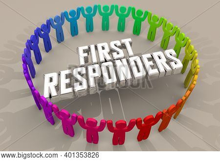 First Responders Emergency Workers People Circle 3d Illustration