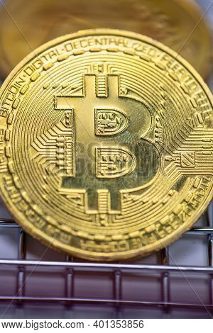 Bitcoin Is A Cryptocurrency And Worldwide Payment, Technology Concept Bitcoin, Ethereum, Litecoin On