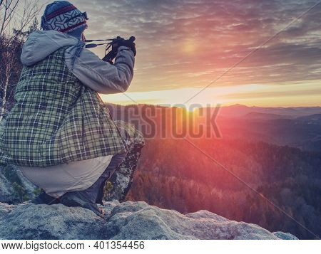 Nature Still Photography Photographer Woman With Professional Slr Camera Taking Picture Of Fall Dayb