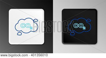 Line Co2 Emissions In Cloud Icon Isolated On Grey Background. Carbon Dioxide Formula Symbol, Smog Po