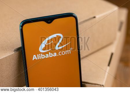 Kazan, Russia - December 29, 2020: Illustrative Photo Of Alibaba Logo On The Screen Smartphone. Alib