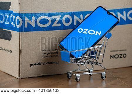 Kazan, Russia - December 29, 2020: Illustrative Photo Of Ozon Logo On The Screen Smartphone Closeup.