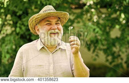 Elderly Man In Straw Summer Hat. Mental Health. Peace Of Mind. Harmony Of Soul. Peaceful Grandpa Blo