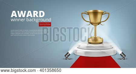 Winner Award On Illuminated Podium Round Stage