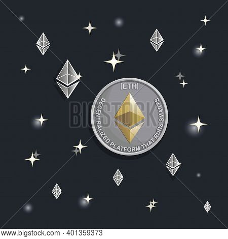 Silver Ethereum. High Takeoff. Vector Cosmic Background. Virtual World Of Crypto-currency. Digital C
