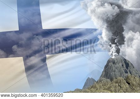 High Volcano Eruption At Day Time With White Smoke On Finland Flag Background, Troubles Because Of E
