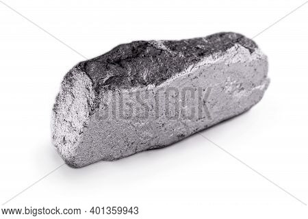 Platinum Nugget On An Isolated White Background, Is A Chemical Element Used In The Chemical Industry