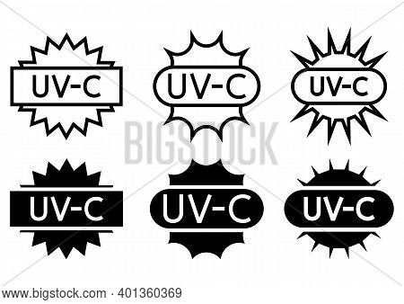 Uv Sterilization Stamp. Sanitation Device Information Sign. Uv Radiation, Solar Ultraviolet Icons. A