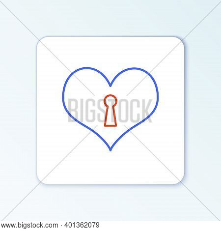Line Heart With Keyhole Icon Isolated On White Background. Locked Heart. Love Symbol And Keyhole Sig