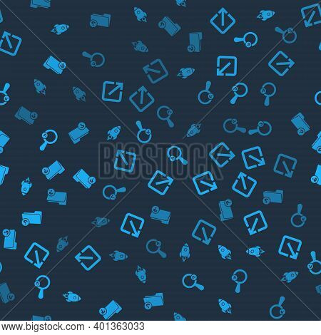 Set Rocket Ship With Fire, Open In New Window, Unknown Search And Directory On Seamless Pattern. Vec
