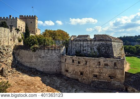 The Walls And Turrets Of The Medieval Castle Of The Joannite Order In The City Of Rhodes