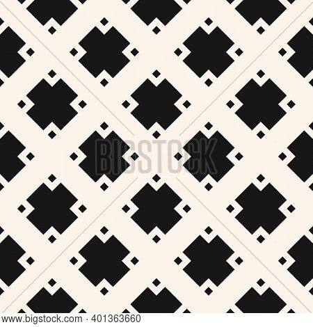 Vector Monochrome Geometric Seamless Pattern With Diamonds, Rhombuses, Floral Shapes, Squares, Grid,