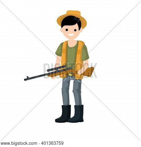 Guy With Rifle. Shooter And Weapon. Cartoon Flat Illustration. Equipment For Hunting Animals