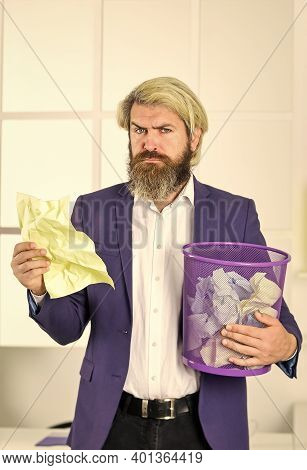 Read The Info. Businessman Hold Trashcan. Man In Office Look For Lost Note In Paper Bin. Crumpled Pa