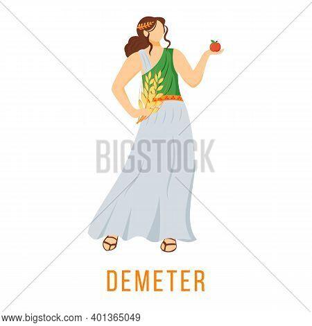 Demeter Flat Vector Illustration. Ancient Greek Deity. Goddess Of Agriculture, Harvest And Fertility