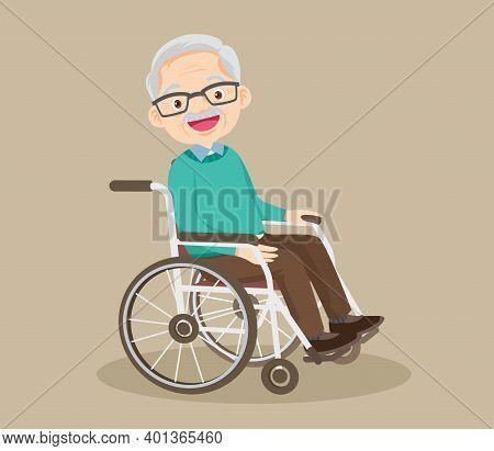 Happy Smiling Grandfather Sitting On Wheelchair, Disabled Senior Gentleman Posing In A Wheelchair, E