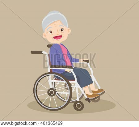 Happy Smiling Grandmother Sitting On Wheelchair, Disabled Senior Woman Posing In A Wheelchair, Elder