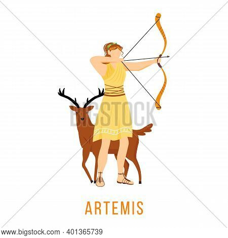 Artemis Flat Vector Illustration. Ancient Greek Deity. Goddess Of Moon, Hunt And Archery. Mythology.