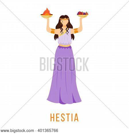 Hestia Flat Vector Illustration. Ancient Greek Deity. Virgin Goddess Of Hearth, Family, Home. Mythol