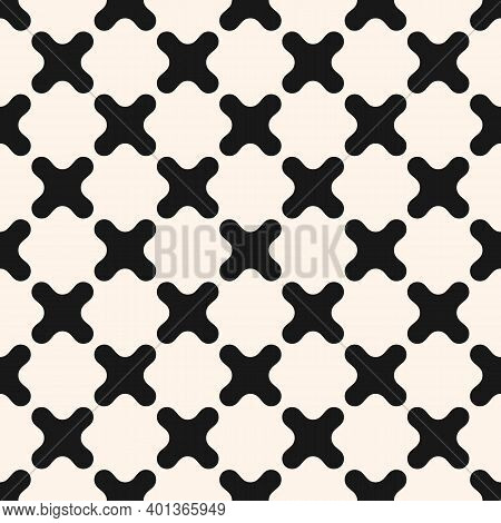 Simple Monochrome Vector Seamless Pattern With Curved Crosses. Abstract Minimal Geometric Texture. B
