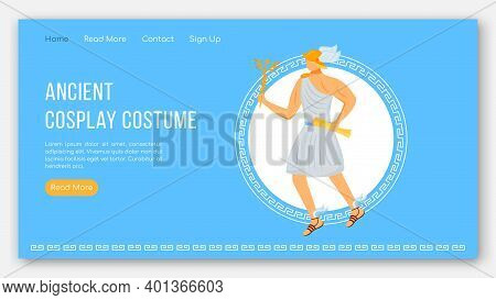 Ancient Cosplay Costume Landing Page Vector Template. Greek Gods Party Fest. Mythology Website Inter