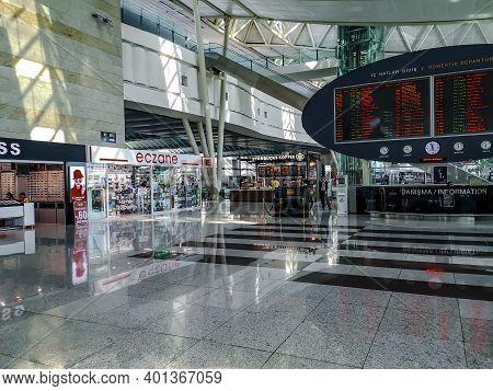Turkey, Ankara - October 24, 2019: Interior Of The Ankara Esenboga Airport Domestic Terminal (esb).