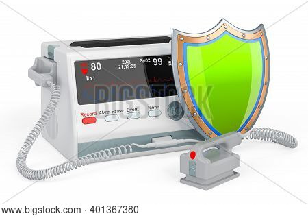 Automated External Defibrillator With Shield, 3d Rendering Isolated On White Background