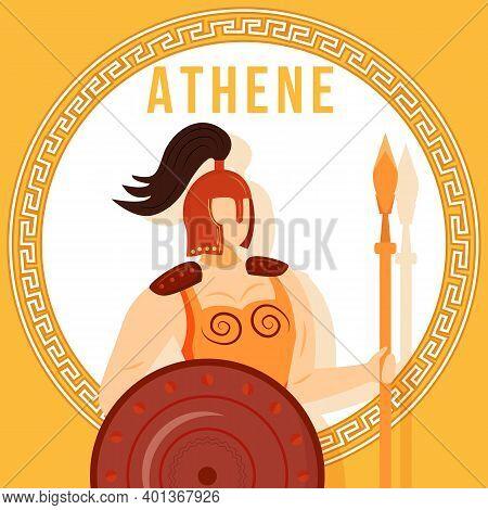 Athene Orange Social Media Post Mockup. Greek Goddess. Divine Mythological Figure. Web Banner Design
