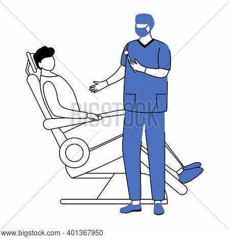 Dentist Flat Vector Illustration. Dentistry, Stomatological Procedure Simple Drawing. Teeth Treatmen