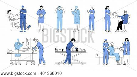 Doctors Flat Vector Illustrations Set. General Practitioners, Therapists, Surgeons Isolated Cartoon