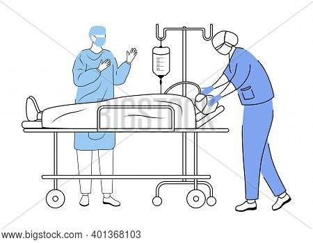 Surgical Operation Flat Vector Illustration. Anesthetist And Surgeon With Patient On Gurney Simple C