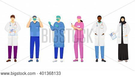 Doctors Flat Vector Illustrations Set. Multicultural Therapists, General Practitioners. Surgeon, Nur